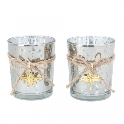 Set of 2 Silver Glass T-Lite with Gold Bug
