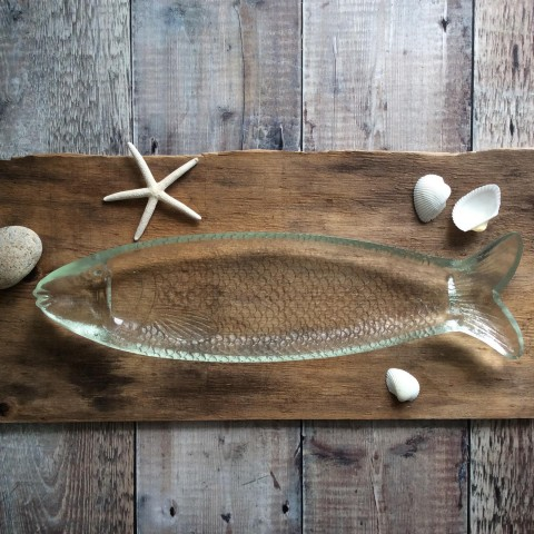 Clear Pressed Glass Large Fish Plate