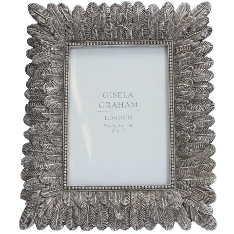 Antique  Silver Feather Picture Frame Medium