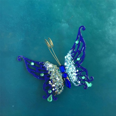 Blue Peacock Butterfly Decoration