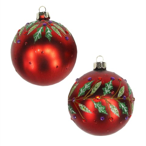 Set of 2 Red Glass Christmas Tree Baubles with Jewelled Holly , 8cm