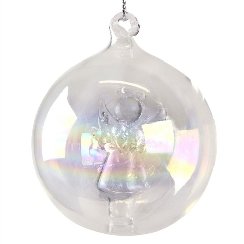Clear Glass Christmas Bauble with Angel Inside, 6cm