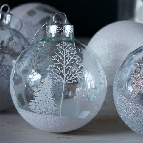 White Reindeer Forest Bauble