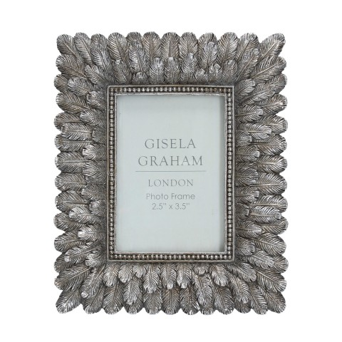 Antique Silver Feather Picture Frame Mini