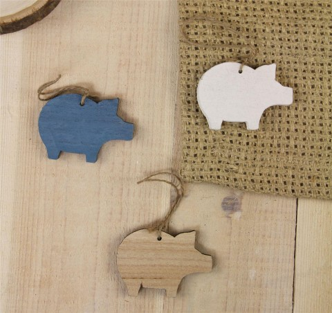 Natural/Blue/White Wooden Pig Decorations - Set of 3