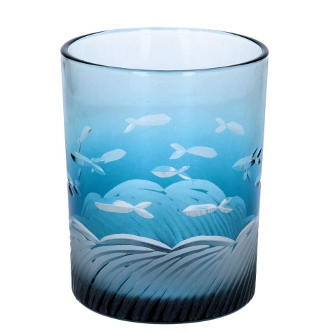 Blue Etched Glass Fish Tealight Holder - Large
