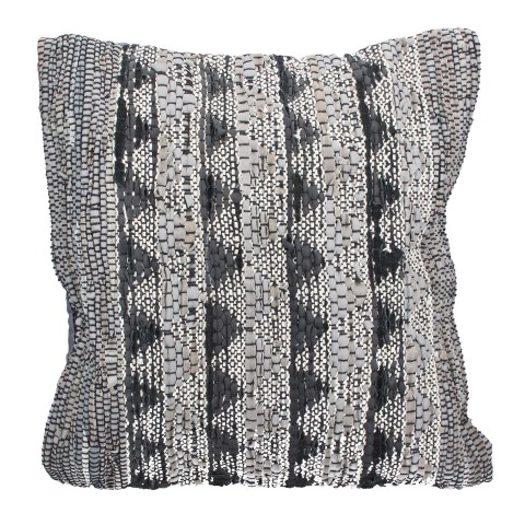 Grey and Black Chevron Leather Cushion