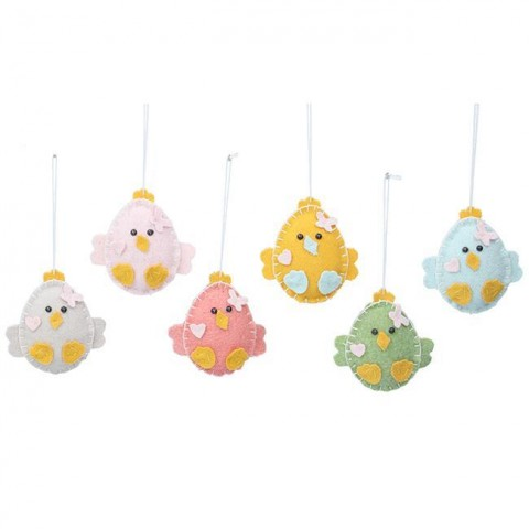Set of 6 Multicoloured Felt Chicks
