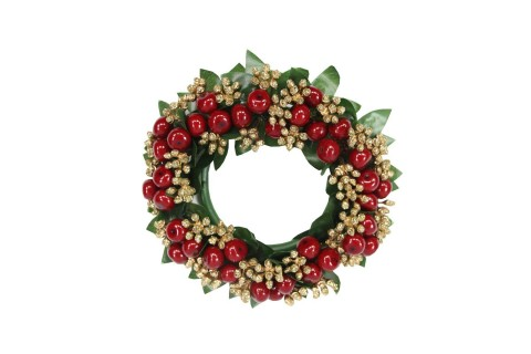 Large Candle Ring 15cm - Red & Gold Berries