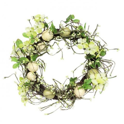 Green & Cream Wreath with Eggs