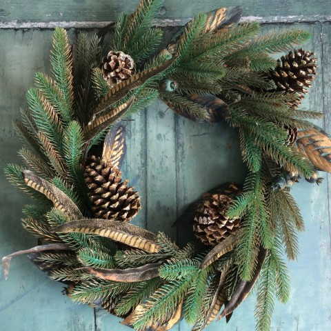 Gold Cone & Feather Wreath