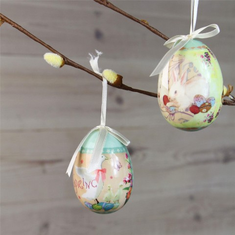 Bunny and Goose Easter Egg Decorations with Bow - Set of Two