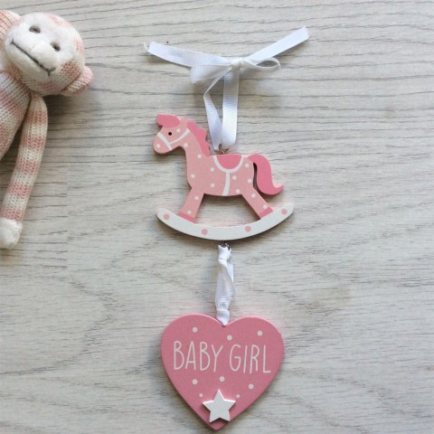 Baby Girl Pink Hanging Heart with Rocking Horse Nursery Decoration