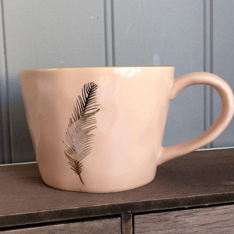 Pink Mug With Gold Feather