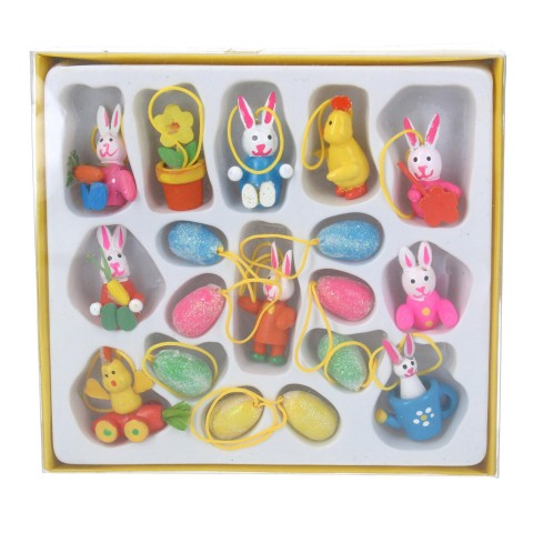 Box of 18 Wooden Easter Decorations