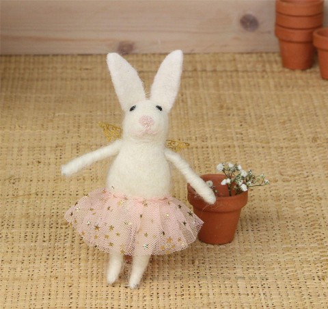 Wool Mix White Easter Bunny in Pink Dress Decoration