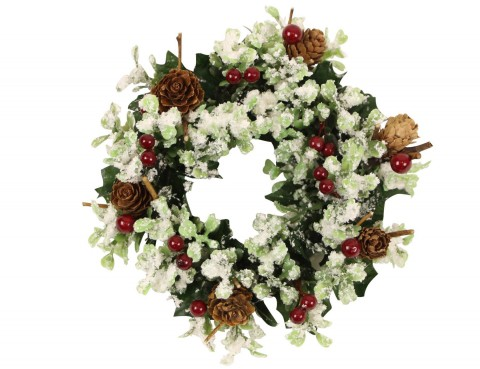 Candle Ring 19cm - Frosted Foliage/Red Berries