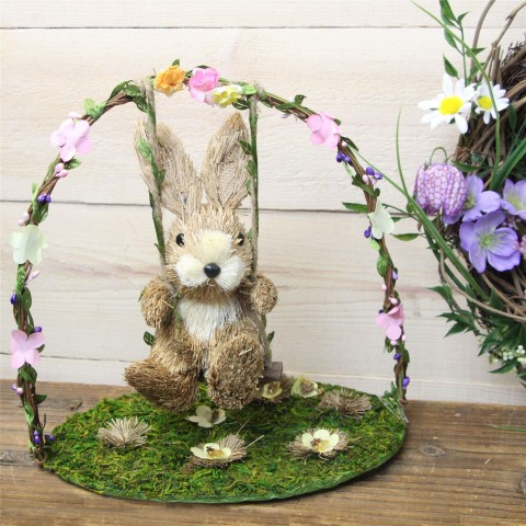 Bristle Bunny on Swing Arch Easter Decoration