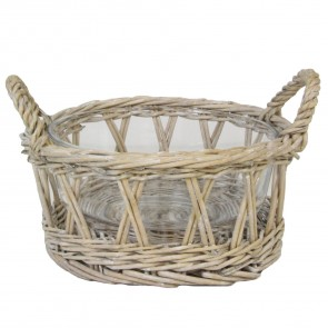 Natural Willow Basket with Glass Bowl