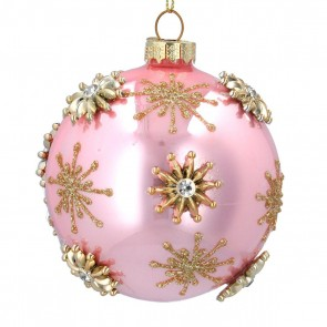 Glass Bauble 8cm - Pink/Gold w Jewelled Stars