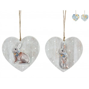 Set of 2 Country Folk Wood Heart with Bunny Dec