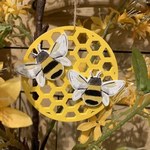 Wood Honeycomb Bee Decoration
