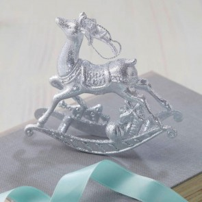 Silver Rocking Reindeer Christmas Tree Decoration - Set of Three