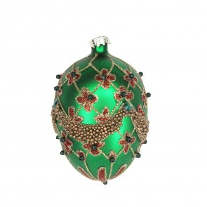 Green Decorated Glass Egg Bauble