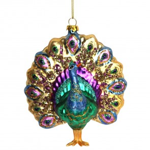 Glass Peacock Shaped Bauble