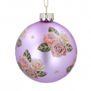 Glass Bauble 8cm - Lilac w Pink Glitter Roses
