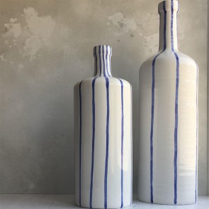 Blue Striped Bottle Vase - Extra Large