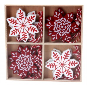 Box/8 Wood Decorations 6cm - Red/White Snowflake