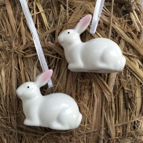 Ceramic White Easter Bunny Decorations- Set of Two
