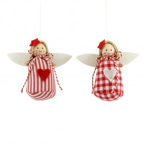 Set of 2 Fabric Angels 8cm - Red/White Gingham and Stripes
