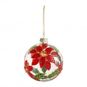 Clear Bauble With Red Poinsettia