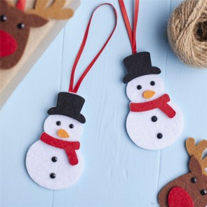 Set Of Two Felt Snowman Christmas Tree Decorations