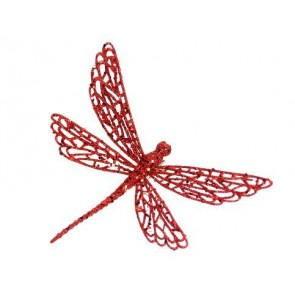 Clip-on Dragonfly 18cm - Red Glitter