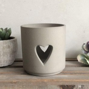 Grey Porcelain Heart Tea Light Holder