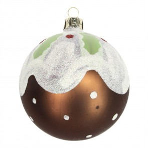 Glass Christmas Pudding Christmas Tree Bauble, 8cm