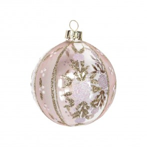 Pink And Gold Rose Glass Bauble