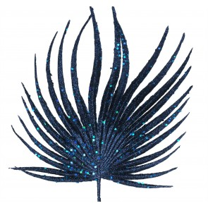 Stem 24cm - Navy Blue Glitter Fan Palm