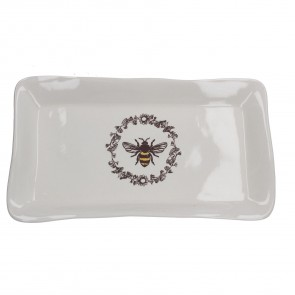 White Ceramic Honey Bee Rectangle Plate