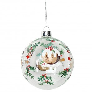Painted Christmas Pudding Bauble