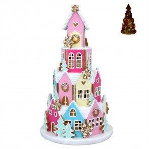 Resin Ornament 42cm - Pastel LED Gingerbread Village