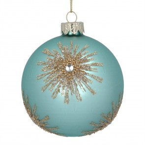 Glass Bauble 8cm - Turquoise/Gold Bead Starburst