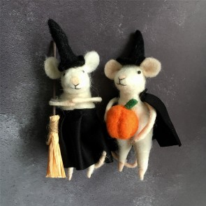 Set of Two Halloween Mice Decorations