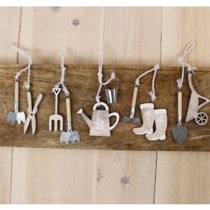 Wood/Tin Garden Tools Decorations - Set of Five