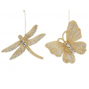 Set of 2 Acrylic Decorations 12cm - Gold & Silver Butterfly/Dragonfly