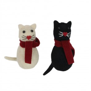 Set of 2 Wool Decorations 9.5cm - Cats with Scarf