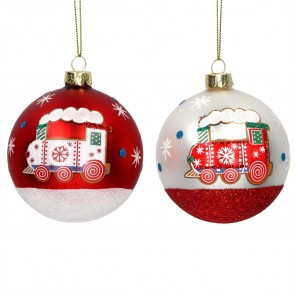 Set of 2 Glass Baubles 8cm - Red/White Painted Train